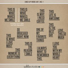 Lined Up Word Art | No. 1 by Sahlin Studio - Perfect for over your Project Life photos!!