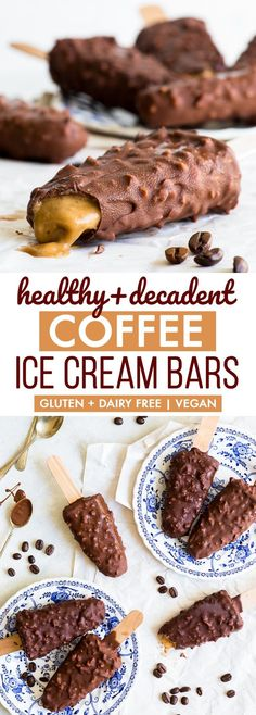 Healthy + Decadent Coffee Ice Cream Bars {gluten, dairy, egg & soy free, vegan} - You need these in your life. Not only are these coffee ice cream bars healthy, they're also ridiculously decadent and delicious. With a crunchy chocolate shell and intense coffee flavour. Easy to make. Healthy ice cream. Healthy desserts. Healthy recipes. Vegan ice cream. Vegan dessert. Vegan recipes. Coffee ice cream. Homemade popsicles. Ice cream lollies. #vegan #glutenfree #healthyrecipes #icecream #coffee