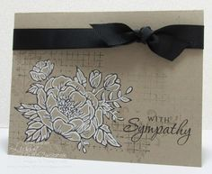 handmade sympathy card ... kraft with black and white ... line art stamped flower with added lines for dimension ...
