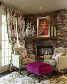 Rustic decor with Fuchsia ottoman