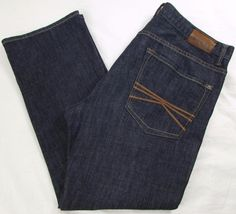 Men Express Rocco Jeans Slim Fit Straight Low Rise Dark Wash stretch sz 36 X 30 #Express #SlimFitStraightLeg