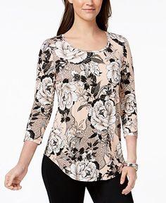 Best 12 Jm Collection Printed T-Shirt, Created for Macy's – Orange XXL Kurta Designs, Blouse Designs, Cheap Womens Tops, Petite Tops, Trendy Tops, Fashion Dresses, Clothes For Women, Metal Trim, Alaia