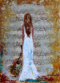 Girl with a guitar by Karen Tarlton