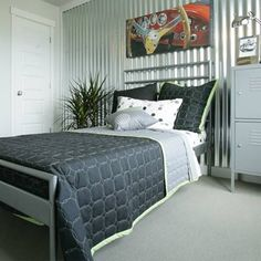 Corrugated Metal for Interior Walls   Create a unique accent wall with corrugated sheet metal fastened onto ...