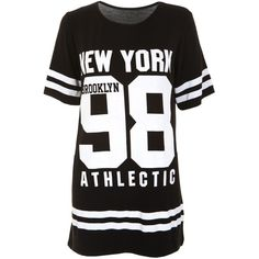 New York 98 Oversize Tee in Black (15 AUD) ❤ liked on Polyvore featuring tops, t-shirts, low tops, oversized tee, black oversized t shirt, black t shirt and black top