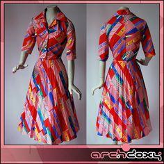 Vintage 1960s Superb Red Geometric Dress UK12  http://www.ebay.co.uk/itm/Vintage-1960s-Superb-Red-Geometric-Print-Scooter-MOD-Twiggy-Pleated-Dress-UK12-/371623606134 #vintagedress #retro
