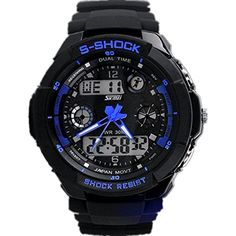 Mandy Multi Function Military S-Shock Sports Watch LED Analog Digital Waterproof Alarm Blue *** Visit the image link more details. (This is an affiliate link) #Accessories