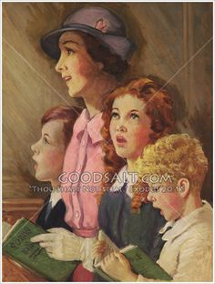Singing in Church Vintage Soul, Vintage Art, Vintage Ladies, Church Pictures, Worship The Lord, Retro Images, Family Images, Historical Art, Norman Rockwell