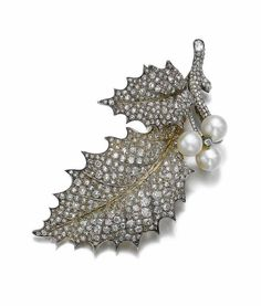 Natural pearl and diamond brooch, Chaumet, late 19th century.