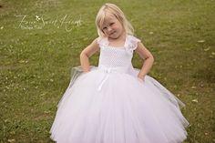 White Tutu Dress, White Flower Girl Dress, Birthday Tutu, First Communion Dress, Pageant Dress, by FourSweetHeartsTutus on Etsy https://www.etsy.com/listing/197078990/white-tutu-dress-white-flower-girl-dress