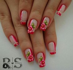 78 nail models decorated to inspire you in your manicure Hair And Nails, My Nails, Finger, Acryl Nails, Boxing Day, Flower Nails, French Nails, Manicure And Pedicure, Nails Inspiration