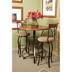 New 3 Piece Bistro Dining Table Set Dinner Bar Pub Stools Chairs Tall Wood Metal