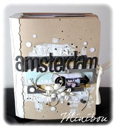 "Mini album ""Amsterdam"" Kraft, blue, white, blanck"