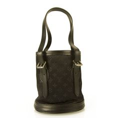 9ca5cb5346df Authentic Louis Vuitton Mini Evening Little Bucket Handbag Monogram Black  Satin bag This stylish handbag is crafted of Louis Vuitton Mini Lin Black  fabric ...