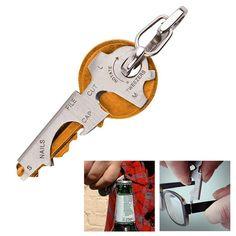 8-in-1 Utili-Key Camping Multi-function Pocket Tool Stainless Steel Keychain Mini Multitool EDC Survival Gear Travel Tool Kit