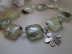 Prehnite Square Bead Link Bracelet, Light Green Gemstone Jewelry, Sterling Silver Flower Charm