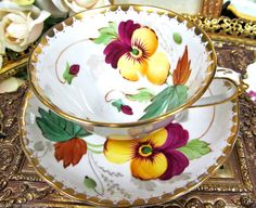 TUSCAN TEA CUP AND SAUCER HANDPAINTED PANSY FLORAL PATTERN TEACUP
