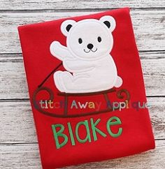Polar Bear Sled Applique - 4 Sizes! | What's New | Machine Embroidery Designs | SWAKembroidery.com Stitch Away Applique