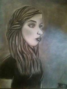 Obra: La femme  Técnica: lápiz y carboncillo profesional. Autor: Jhostin Gomez.