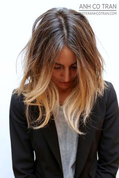Long Subtle Ombre Bob #hair #lob #haircolor #blazer #tee #style #fashion