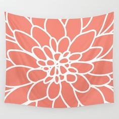 Coral Dahlia Flower Tapestry / Flower Printed Wall Tapestry /
