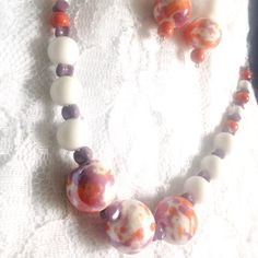 New today! Very fun and Springy marbled beads adorn this vintage inspired Jade, Ceramic and Czech glass necklace & earring set. Available in either silver or gold fill.