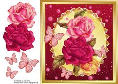 Beautiful Multicoloured Roses 8x8 on Craftsuprint designed by Amy Perry - Beautiful MultiColoured Roses 8x8 in gold frame on gold oval shimmer frame with pink butterflies also has decoupage - Now available for download!