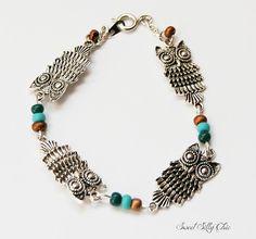 Silver Owl Bracelet Fall Bracelet Silver Owl by SweetSillyChic, $15.00