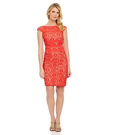 Adrianna Papell Banded Lace Sheath Dress | Dillard's Mobile