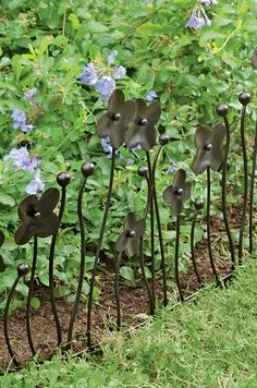 Garden Border Fencing - Decorative Edging with Flowers, Set of 3