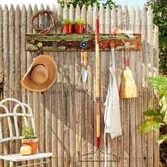 Have some old spigots laying around? Great idea for a rustic garden rack!