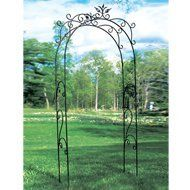Achla Tuileries Arbor by Achla. $307.48. Optional feet sold separately for deck or hard surfaces. Black powder coated for maximum protection against weather. European hand-forged. Easy slip-in components; no tools necessary. Achla Tuileries Arbor Create an elegant garden entrance with one of Achla Designs' handcrafted wrought iron arbors. They are erected using easy-slip components. No screws or tools are required. The arbors stand tall enough to allow vines to g...