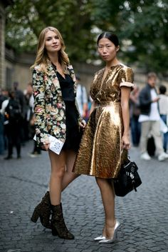 Très Chic! The Best Street Snaps at Paris Fashion Week: The modern woman's take on ladies-who-lunch attire.: A gilded dress is a surefire way to get noticed on the streets of Paris.