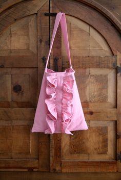ruffled shoulder handbag in pink / market by SassyStitchesbyLori, $60.00