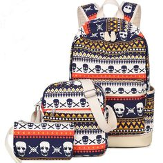 How nice Leisure Cute School Skull Printing Rucksack Punk Totem Travel Canvas Backpack ! I like it ! I want to get it ASAP! #backpack #cute #canvas #feather #bag #rucksack