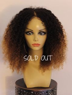 TreBella Wigs Curly 16in closure unit with blonde highlights