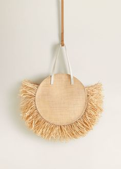 Round raffia bag - Women | Mango USA