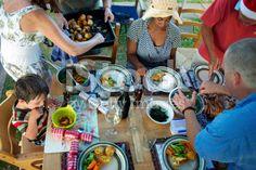 Summer Christmas Dinner, New Zealand royalty-free stock photo