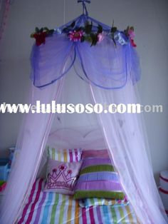 DIY Bedroom Furniture :DIY Canopy Bed : DIY Princess mosquito net, Kids flower bed canopy
