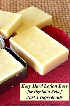 Dry skin? Try these super easy hard lotion bars made with just 3 ingredients.: Bienenwachs, Kakao- oder Sheabutter, Oliven- oder Kokosöl zu gleichen Teilen