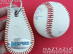 DIY Free Pattern and YouTube Video Tutorial Key Chain Made from a Real Baseball by Donna Wolfe from Naztazia