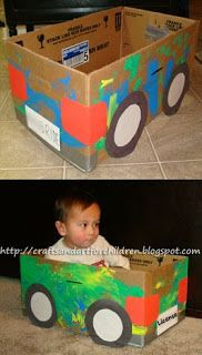 Crafts~N~Things for Children: Upcycled Cardboard Box Car Craft ~ Art Playdate