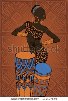Hand drawn illustration  Beautiful black woman.African woman