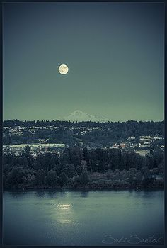 Full Moon Over Mt. Baker, Washington