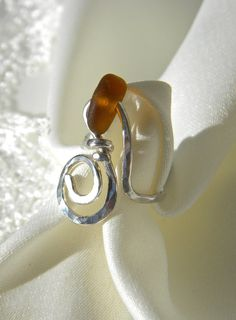Sea Glass Ring Light Brown Swirl Argentium Sterling Silver Size 8 on Etsy, $73.00