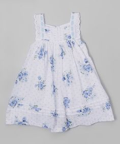 Look what I found on #zulily! Blue & White Floral Lace Trim Dress - Infant, Toddler & Girls #zulilyfinds