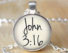 John 3:16 Necklace, Christian, Bible Verse Necklace, Biblical, Quote Jewelry