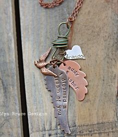 I dreamed a dream of you - personalized long wing pendants and heart hang from funky turquoise metal knot with bird pendant. $42.00, via Etsy.
