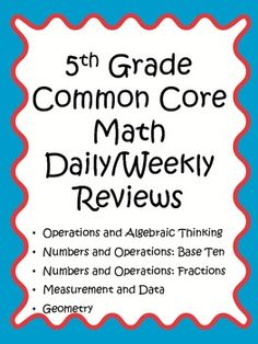 30 weeks of spiral review for Common Core Math