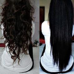 Curly hair. Straight Hair. thats my hair b4 and after too!! lolol looks darker straighter